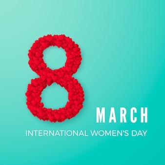 Koncepcja obchodów międzynarodowego dnia kobiet szczęśliwy. ze stylowym sercem zdobionym tekstem 8 marca na turkusowym tle. ilustracja