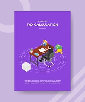 Koncepcja obliczania podatku dla szablonu banera i ulotki do drukowania z ilustracją w stylu izometrycznym