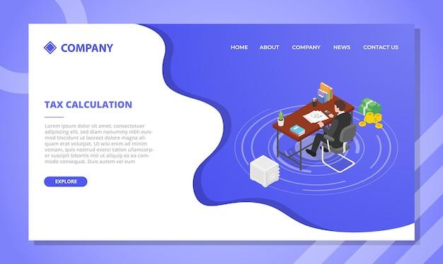 Koncepcja obliczania podatku dla szablonu strony internetowej lub projektu strony głównej docelowej z ilustracją w stylu izometrycznym
