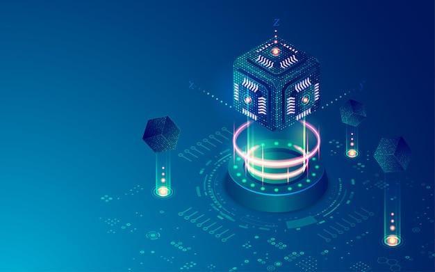 Koncepcja obliczeń kwantowych lub superkomputera, grafika mikroukładu sześciennego z elementem futurystycznej technologii