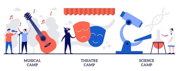 Koncepcja obozów muzycznych, teatralnych i naukowych z małymi ludźmi. działalność artystyczna i naukowa dla dzieci zestaw ilustracji wektorowych. rozwijanie kreatywności, hobby dzieci i metafora rozrywki.
