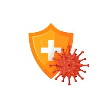 Koncepcja obrony immunologicznej. tarcza medyczna z kulistym koronawirusem. do infografik, banerów internetowych, plakatów.