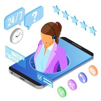 Koncepcja obsługi klienta izometryczne online. mobilne centrum telefoniczne z konsultantką, zestawem słuchawkowym, ikonami czatu. ilustracja wektorowa na białym tle