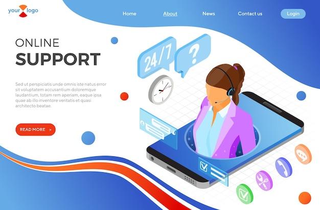 Koncepcja obsługi klienta izometryczne online. mobilne centrum telefoniczne z konsultantką, zestawem słuchawkowym, ikonami czatu. szablon strony docelowej. ilustracja wektorowa na białym tle