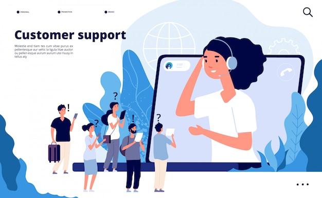 Koncepcja obsługi klienta. specjaliści pomagają klientowi ze smartfonem. strona docelowa komunikacji telemarketingowej