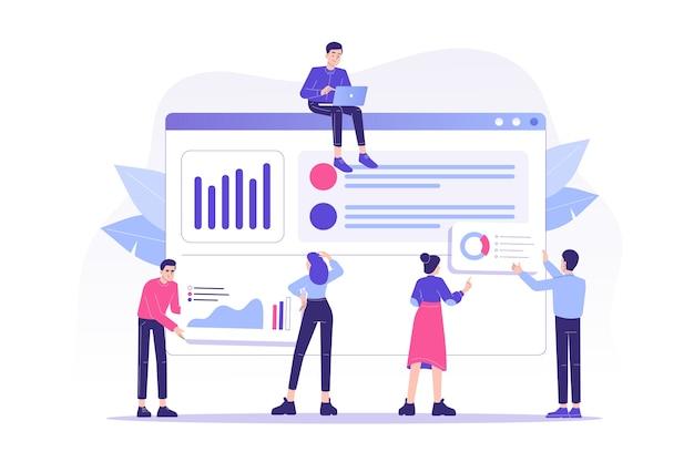 Koncepcja obsługi klienta z ludźmi pracującymi razem i zapewniającymi obsługę klienta online