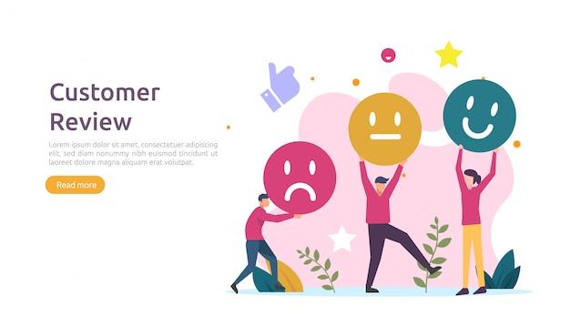 Koncepcja oceny recenzji klienta. ludzie postaci oceniający opinie. poziom zadowolenia i krytyczne wsparcie ze strony smartfona dla strony docelowej, portali społecznościowych, plakatów, reklam, promocji lub mediów drukowanych