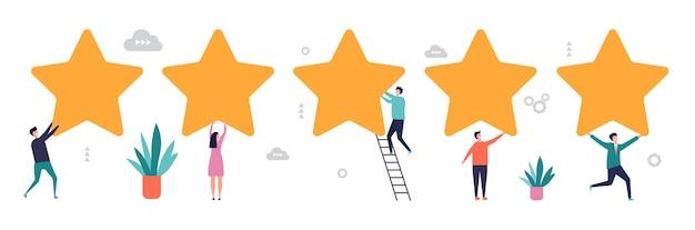 Koncepcja oceny. wyniki ankiety, ilustracja opinii. pięć gwiazdek z płaskimi malutkimi ludzikami. pięciogwiazdkowa informacja zwrotna od klienta, ocena konsumenta