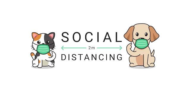 Koncepcja ochrony covid-19 kot i pies noszący ochronną maskę na twarz, dystans społeczny