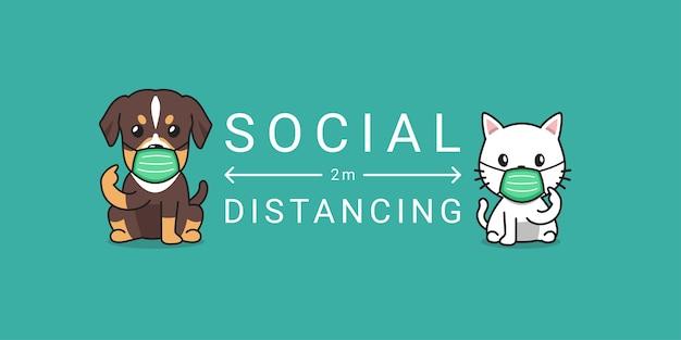 Koncepcja ochrony covid-19 kreskówka kot i pies noszący ochronną maskę na twarz, dystans społeczny