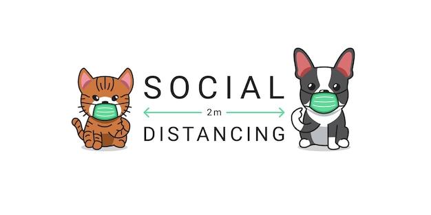 Koncepcja ochrony covid-19 postać z kreskówki kot i pies noszący ochronną maskę na twarz, dystans społeczny