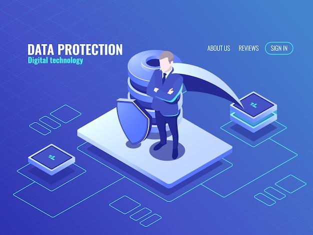 Koncepcja ochrony danych, człowiek w superbohaterze płaszczowym, ikona izometryczna bazy danych, tarcza chroniona