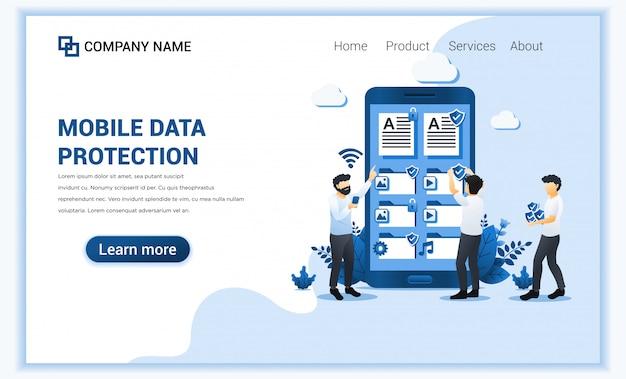 Koncepcja ochrony danych z osobami chroniącymi dane na gigantycznym telefonie komórkowym.