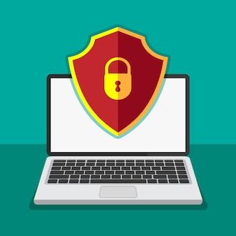 Koncepcja ochrony plików. technologia ochrony danych i prywatności na wyświetlaczu komputera. bezpieczne informacje poufne. laptop z czerwoną tarczą na wyświetlaczu. ilustracja.