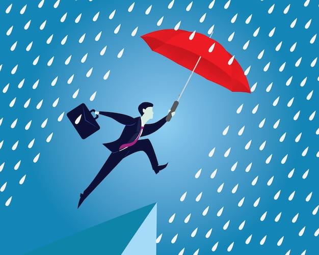 Koncepcja ochrony ubezpieczeniowej. biznesmen i parasol. wektor
