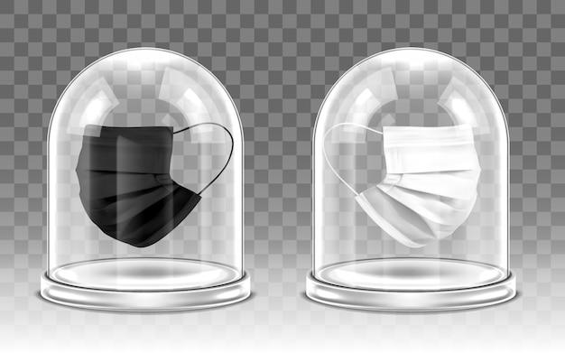 Koncepcja ochrony wirusowej. maska medyczna pod szklaną kopułą. realistyczna ilustracja