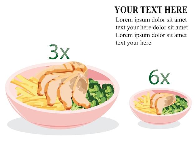 Koncepcja odchudzania diety. mniejsza miska do odchudzania. porady dietetyczne: duża miska vs. mała miska