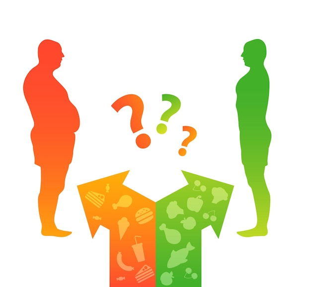 Koncepcja odchudzania przed i po diecie i fitnessie