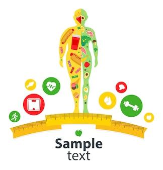 Koncepcja odchudzania trening ciała aktywny zdrowy styl życia człowiek przed i po diecie i fitness