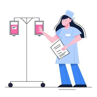 Koncepcja oddawania krwi. oddaj krew i ocal życie, zostań dawcą. idea dobroczynności i pomocy. lekarz z zakraplaczem krwi. ilustracja
