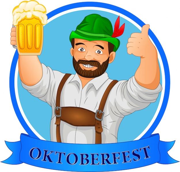 Koncepcja oktoberfest. mężczyzna trzyma piwo i kciuk w górę