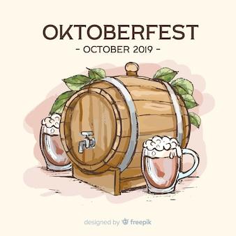 Koncepcja oktoberfest z ręcznie rysowane tła