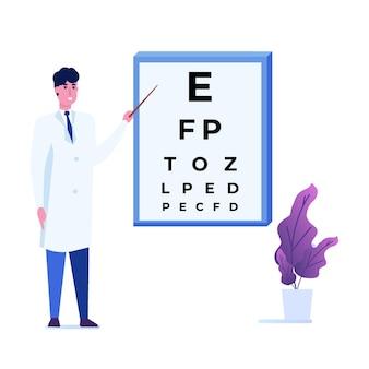 Koncepcja okulistyki. okulista sprawdza wzrok pacjenta.