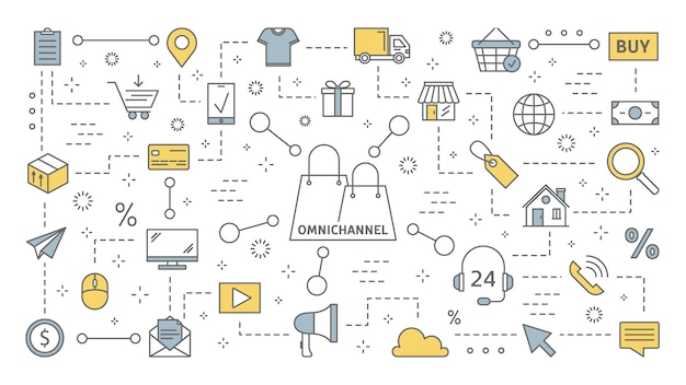 Koncepcja omnichannel. wiele kanałów komunikacji z klientem. handel detaliczny online i offline pomaga rozwinąć twoją firmę. zestaw ikon linii. ilustracja