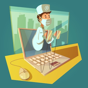 Koncepcja online lekarz i laptop