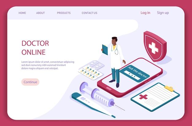 Koncepcja online lekarza z charakterem. płaskie izometryczne ilustracja na białym tle. strona docelowa opieki zdrowotnej