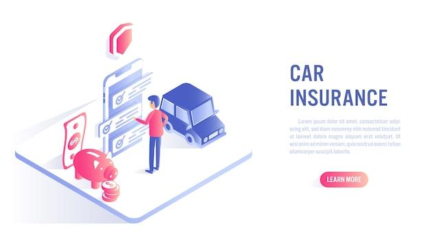 Koncepcja online ubezpieczenia samochodu. wezwanie do działania lub szablon banera internetowego