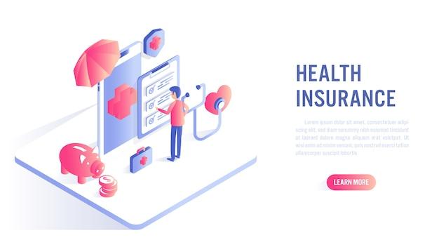 Koncepcja online ubezpieczenia zdrowotnego. wezwanie do działania lub szablon banera internetowego