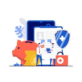 Koncepcja online ubezpieczenia zdrowotnego z charakterem. plan ubezpieczenia medycznego z lekarzem, pacjentem, skarbonką, medycznym z tarczą. nowoczesny styl płaski na stronę docelową, aplikację mobilną, obrazy bohaterów.