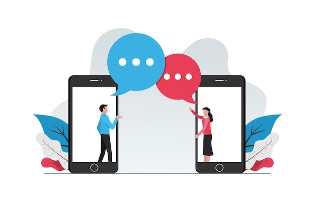 Koncepcja online webchatting. mężczyzna i kobieta robi rozmowę z ilustracji telefonu.