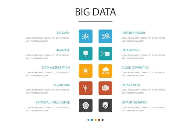 Koncepcja opcji big data infographic 10. baza danych, sztuczna inteligencja, zachowanie użytkownika, proste ikony centrum danych