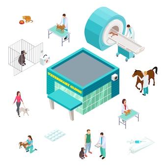 Koncepcja opieki nad zwierzętami. izometryczna klinika weterynaryjna na białym tle. weterynarze wolontariusze, właściciele zwierząt domowych, przychodnia lekarska. poradnia weterynaryjna dla psów, kotów i zwierząt domowych