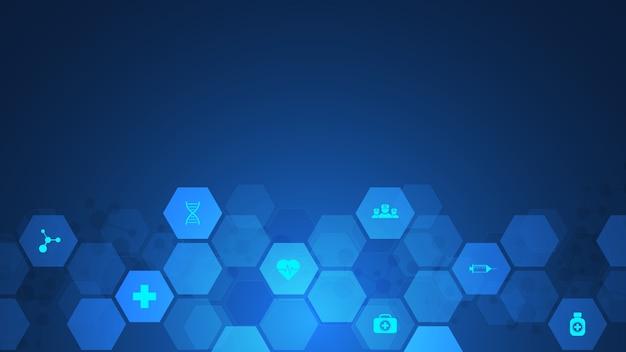 Koncepcja opieki zdrowotnej i technologii z płaskich ikon i symboli