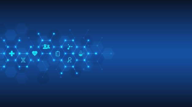 Koncepcja opieki zdrowotnej i technologii z płaskimi ikonami i symbolami