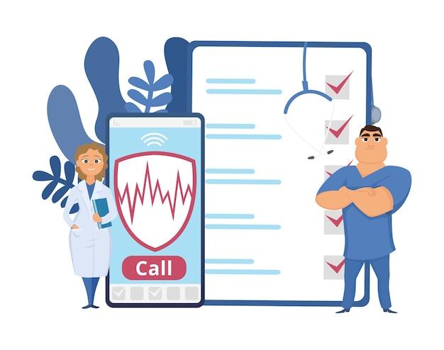 Koncepcja opieki zdrowotnej. ilustracja ubezpieczenia zdrowotnego. pomoc lekarzy z kreskówek, telefon, ubezpieczenie telefonu komórkowego. ubezpieczenie zdrowotne, opieka i pomoc