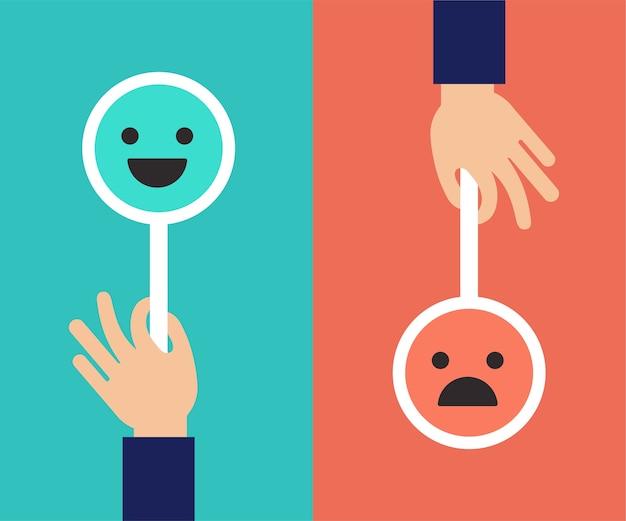 Koncepcja opinii, emotikony, emotikony i uśmiech, skala emocji