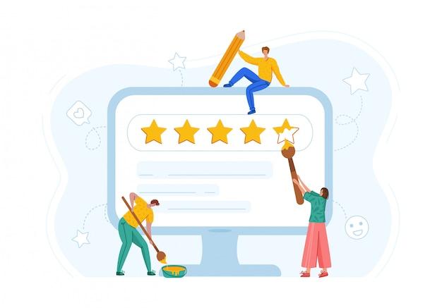 Koncepcja opinii klientów - ludzie umieszczają gwiazdki na ekranie komputera, usługa online