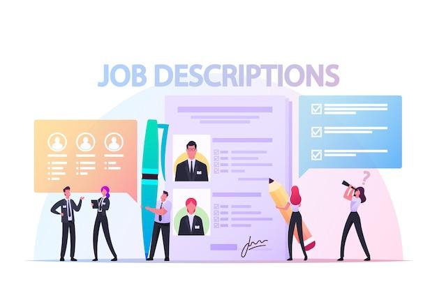 Koncepcja opisów pracy. małe postacie pracodawcy czytające cv personelu, kandydaci szukający ofert nauki pracy w zasobach internetowych. headhunting rekrutacyjny. ilustracja wektorowa kreskówka ludzie