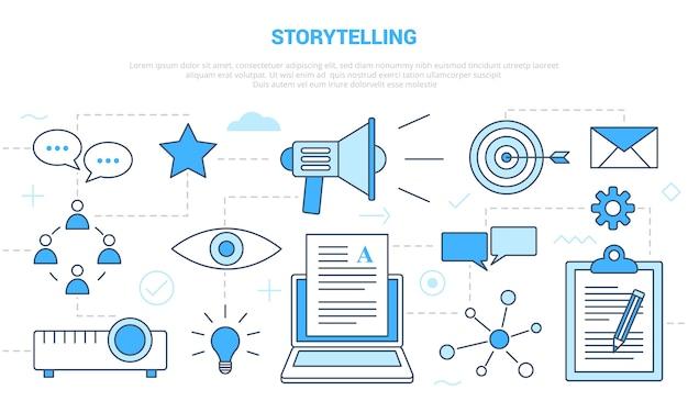 Koncepcja opowiadania historii z banerem szablonu zestawu ikon w nowoczesnym stylu niebieskim