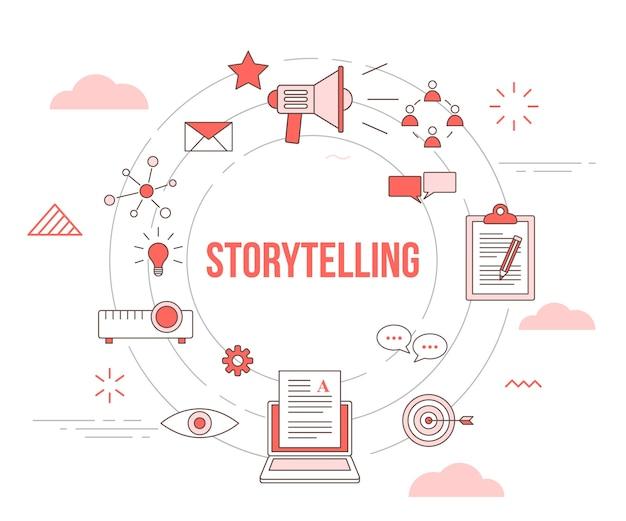 Koncepcja opowiadania historii z banerem szablonu zestawu ikon
