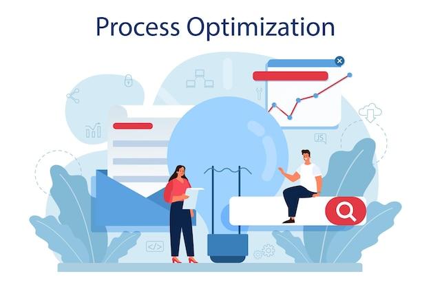 Koncepcja optymalizacji procesu. idea usprawnienia i rozwoju biznesu.