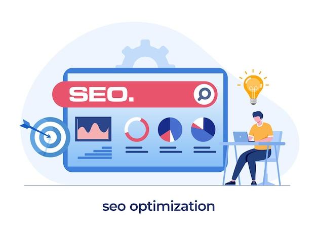 Koncepcja optymalizacji seo, tworzenie stron internetowych, przedsiębiorca, sieć biznesowa, analityk danych, płaski wektor ilustracji