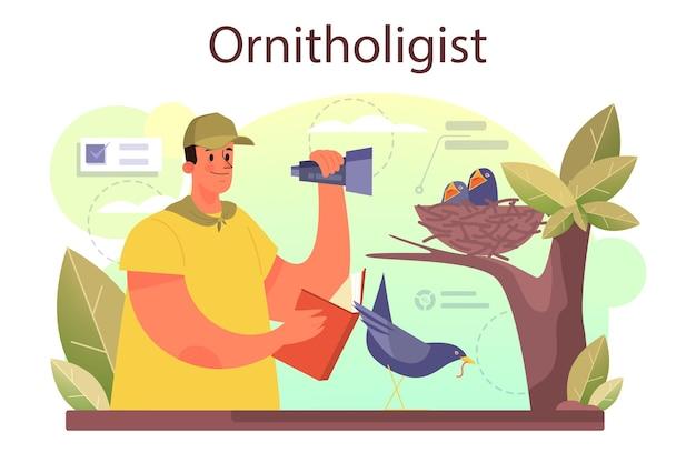 Koncepcja ornitologa. profesjonalny naukowiec badający ptaki. badania zoologa, przyrodnika zajmującego się ptakami. ilustracja wektorowa na białym tle