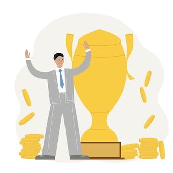 Koncepcja osiągnięcia sukcesu firmy. człowiek świętuje zwycięstwo na tle pucharu i złotych monet. ilustracja wektorowa