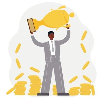 Koncepcja osiągnięcia sukcesu firmy. mężczyzna świętujący zwycięstwo na tle pucharu i złotych monet