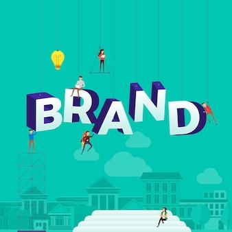 Koncepcja osób pracujących przy budowaniu tekstu marki. ilustracja.